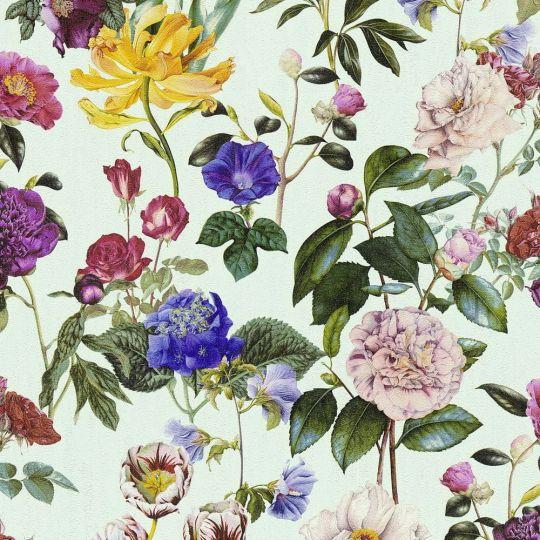 Шпалери AS Creation Trendwall 37336-2 різнокольорові квіти на світло-бірюзовому