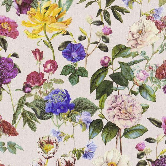 Шпалери AS Creation Trendwall 37336-3 різнокольорові квіти на світло-рожевому