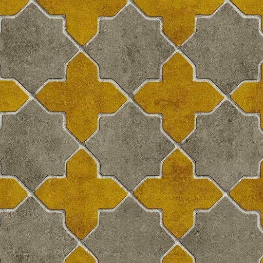 Обои AS Creation New Walls 37421-2 марроканский четырехлистник горчичный