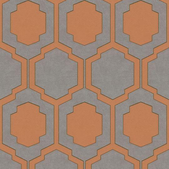 Обои AS Creation Pop Style 37479-3 геометрия оражево-серые