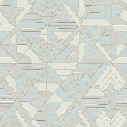 Обои AS Creation Pop Style 37481-3 мозаика серо-голубая