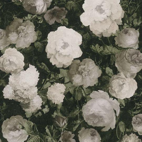 Шпалери AS Creation History of Art 37650-3 квіти на полотні сіро-білі