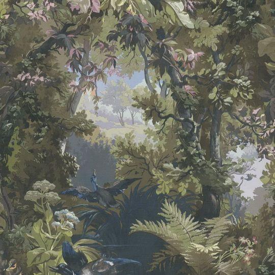 Шпалери AS Creation History of Art 37652-2 пейзаж з качками синьо-зелений