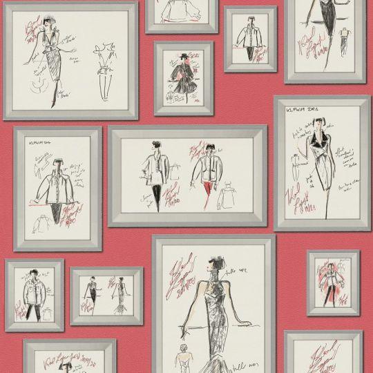 Дизайнерские обои AS Creation Karl Lagerfeld 37846-2 скетчи Карла в рамках на красном