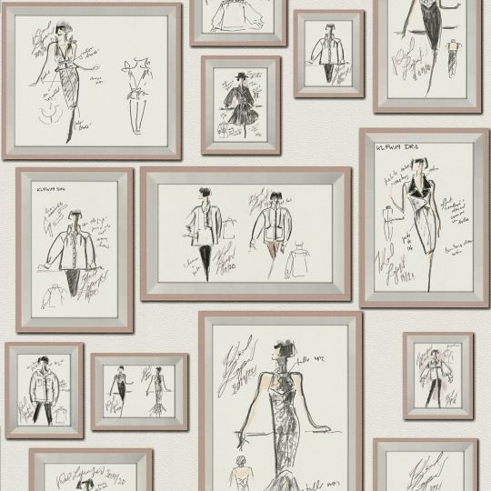 Дизайнерские обои AS Creation Karl Lagerfeld 37846-4 скетчи Карла в розовых рамках