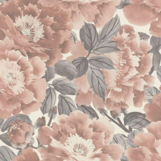 Обои Rasch Kimono 408331 цветущий сад розово-серый