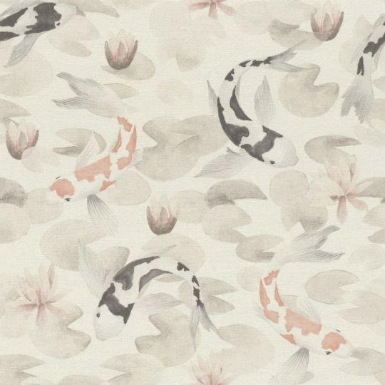 Обои Rasch Kimono 409420 декоративные японские карпы бело-серые