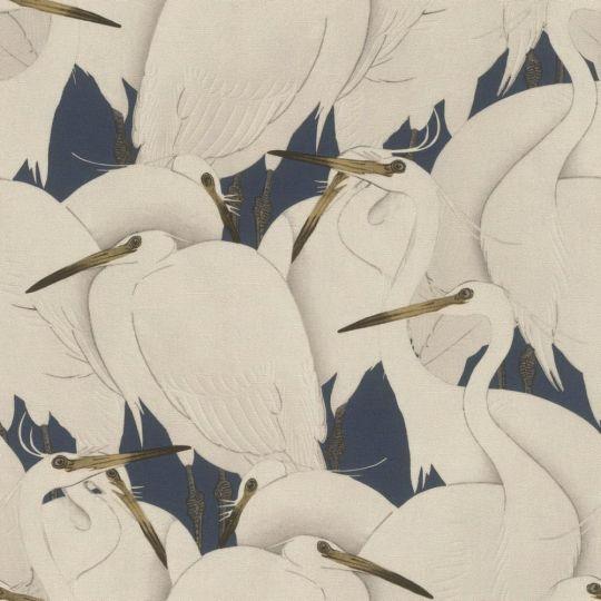 Шпалери Rasch Kimono 409550 білі чаплі на синьому тлі