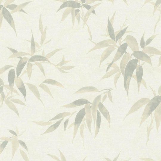 Шпалери Rasch Kimono 409741 листочки зелені на білому тлі