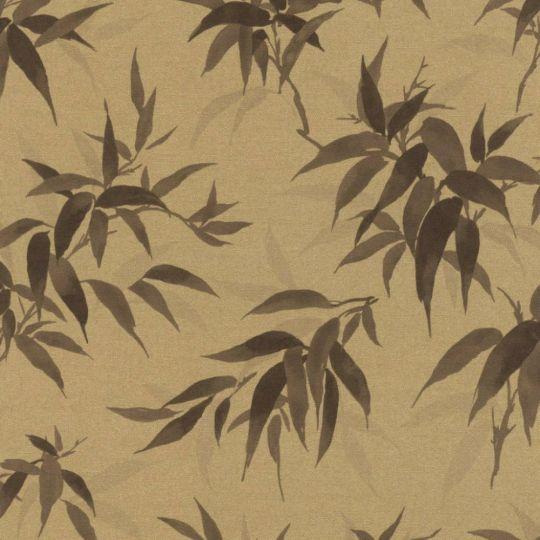 Шпалери Rasch Kimono 409765 листочки коричневі на золотом