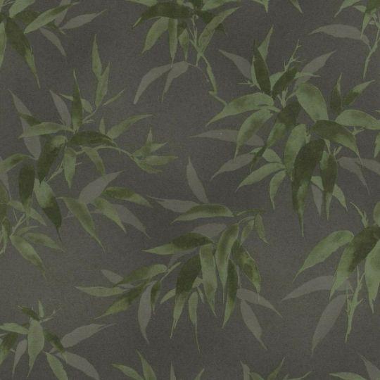 Обои Rasch Kimono 409772 листочки зеленые на черном фоне