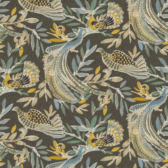 Обои JWall Paraiso 50305 райские птицы на темно-коричневом