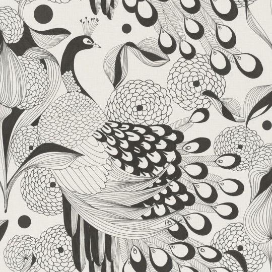 Обои Rasch Club Botanique 537529 павлины черно-белые