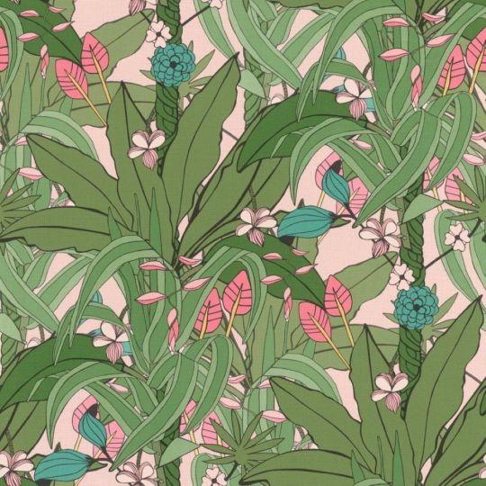 Обои Rasch Club Botanique 538953 джунгли салатовые на розовом