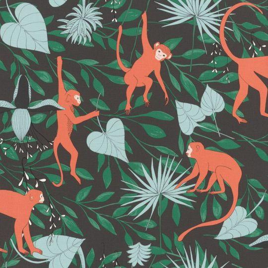 Шпалери Rasch Club Botanique 540147 мавпочки в лісі темні