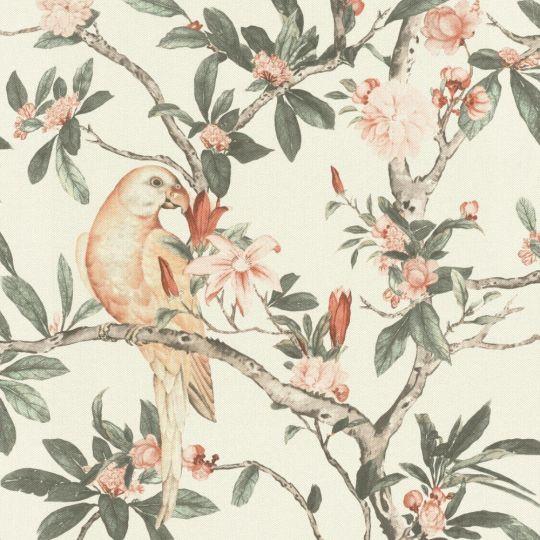 Обои Rasch Poetry 2 543315 попугаи в саду персиковые на белом