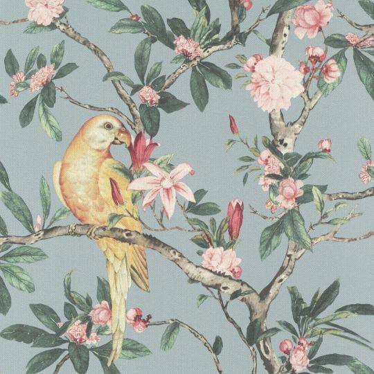 Обои Rasch Poetry 2 543339 попугаи в саду на голубом фоне