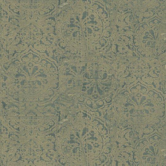 Обои Sirpi JV Kerala 601 5654 затертая ткань с гобеленами золотая с зеленым