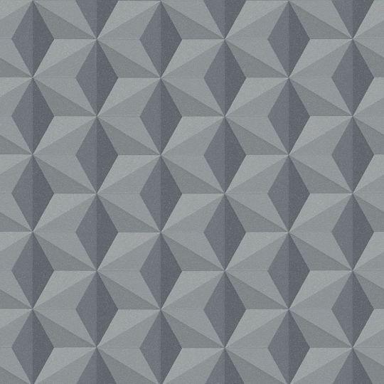 Шпалери AS Creation New Life 96255-2 кубики 3D сіро-чорні люрекс