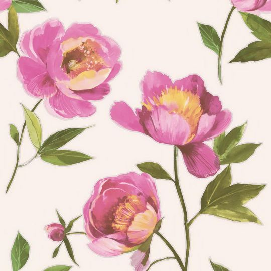 Обои Grandeco Impression A41201 пион розовый