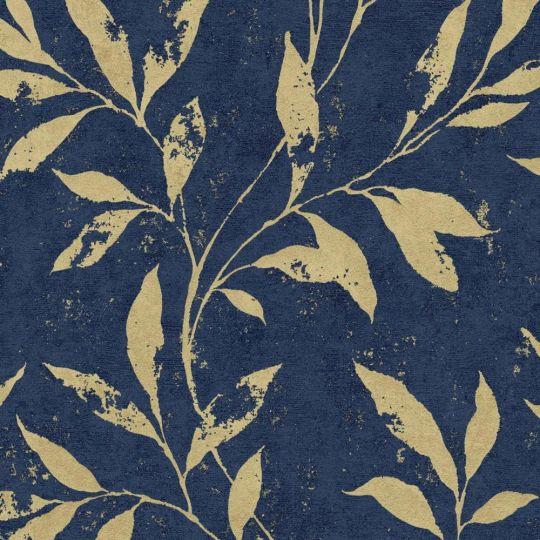 Шпалери Grandeco Phoenix A48302 золоті гілки на синьому