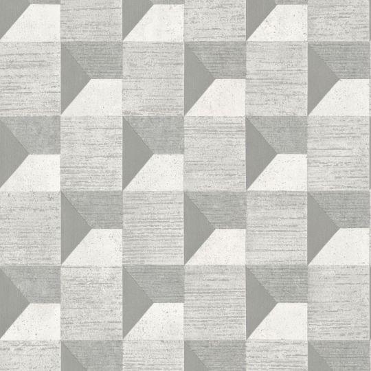 Шпалери Grandeco Phoenix A48701 3D геометрія сіра