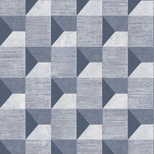 Шпалери Grandeco Phoenix A48703 3D геометрія біло-синя