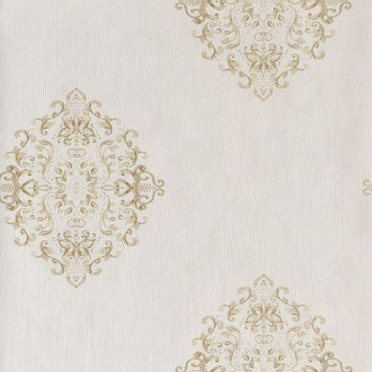 Обои Casadeco Ambassade AMBA81272105 золотые гобелены на белом