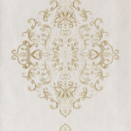 Шпалери Casadeco Ambassade AMBA81282103 золотий гобелен на білому