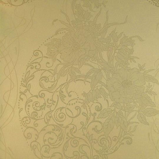 Текстильні шпалери Alberto Pulino Bellissima ATB14 бежеві візерунки з квітами Італія ширина 1,38 м