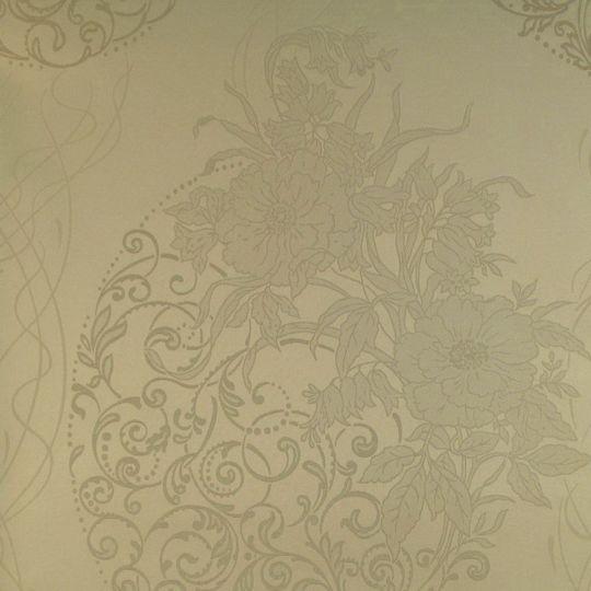 Текстильні шпалери Alberto Pulino Bellissima ATB6 темно-бежеві візерунки з квітами Італія ширина 1,38 м