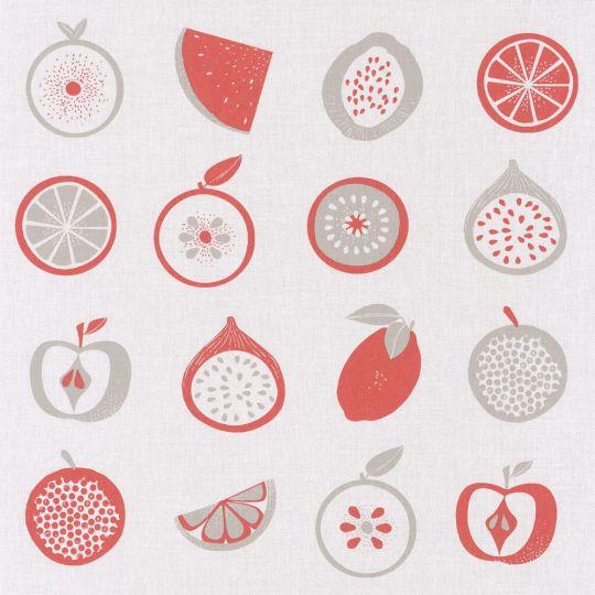 Обои Caselio Au Bistrot d'Alice BIS100648010 фрукты серо-алые