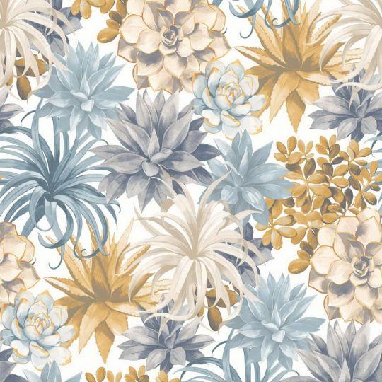 Шпалери Casadeco Botanica BOTA85911389 сукуленти жовто-блакитні