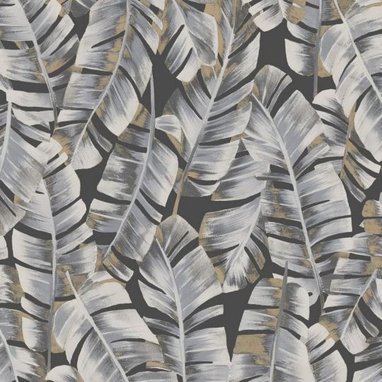 Шпалери Casadeco Botanica BOTA85949852 листя сіре на чорному