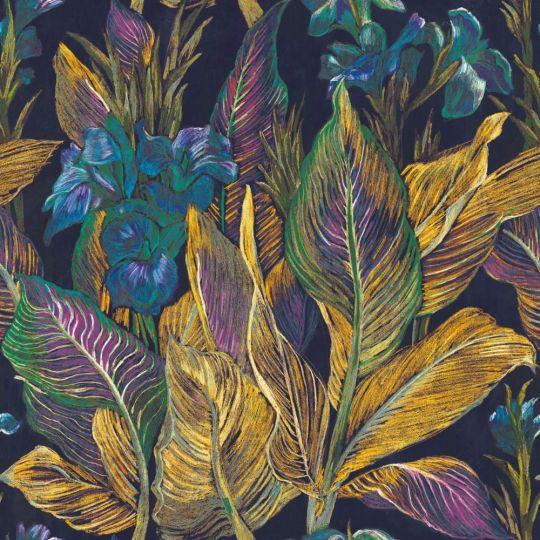 Панно Casadeco Botanica BOTA85952367 іриси жовто-фіолетові 1,5 х 2,8 м