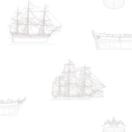 Обои Casadeco Baltic BTI29261217 парусник бело-бежевый