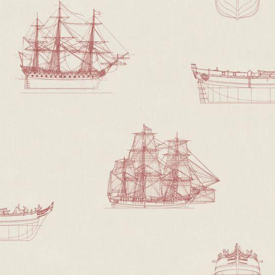 Обои Casadeco Baltic BTI29268122 парусники красный