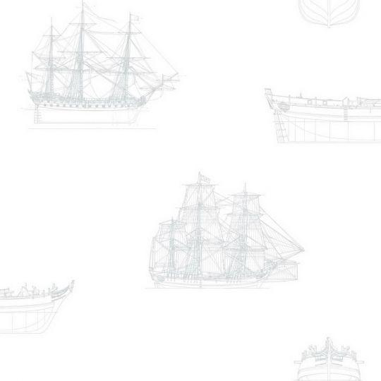 Обои Casadeco Baltic BTI29269112 парусник бело-серый
