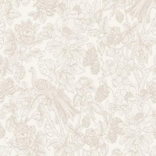 Шпалери Casadeco Delicacy DELY85361274 гравюра квітучий сад на білому