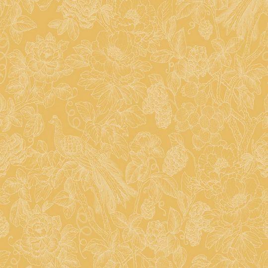 Шпалери Casadeco Delicacy DELY85362264 гравюра квітучий сад гірчичні