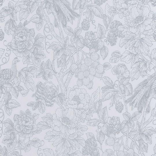 Шпалери Casadeco Delicacy DELY85366151 гравюра квітучий сад синюватий