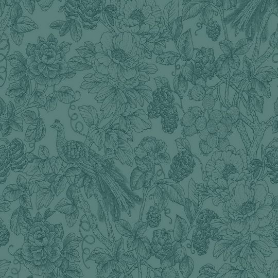 Шпалери Casadeco Delicacy DELY85366461 гравюра квітучий сад синьо-зелений