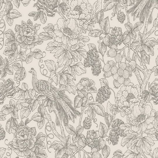 Шпалери Casadeco Delicacy DELY85369348 гравюра квітучий сад чорно-білий