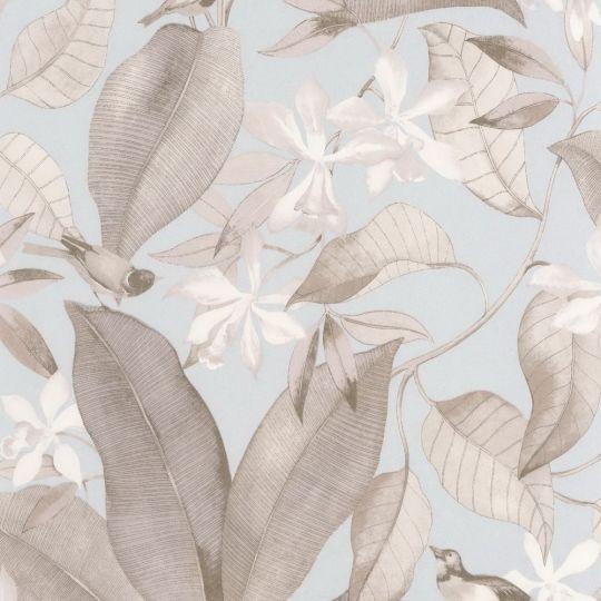 Шпалери Casadeco Delicacy DELY85382261 спів пташок коричнево-блакитні