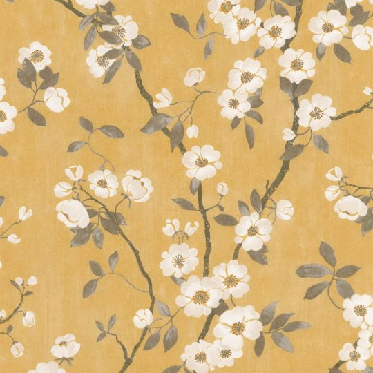 Шпалери Casadeco Delicacy DELY85392403 весняне цвітіння гірчичні