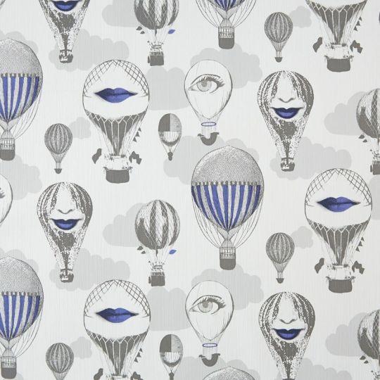 Шпалери Caselio DIX65096001 повітряні кулі сіро-сині