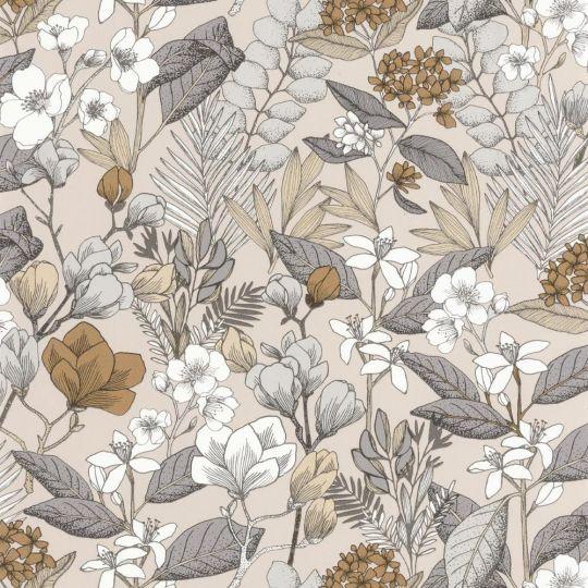Шпалери Caselio Flower Power FLP101851099 квітучий сад сіро-бежеві
