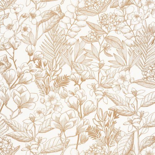 Шпалери Caselio Flower Power FLP101852010 квітучий сад золотий контур