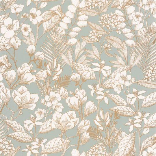 Шпалери Caselio Flower Power FLP101857024 квітучий сад золотий контур на блакитному тлі
