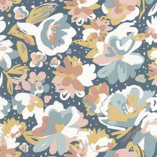 Шпалери Caselio Flower Power FLP101876041 квіти малюнок синій